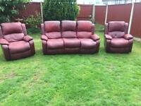 Lazyboy recliner compact sofa suite suede leather. Can deliver