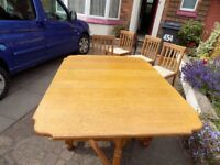 Oak Antique Gate Leg Drop Leaf Table and 4 Chairs possibly 1930's vintage - Willing to Split