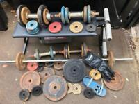 Large selection of Weights, Dumbells, Barbells, Bench etc