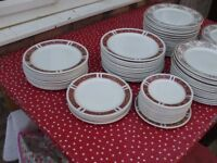 DINNER AND TEA PLATES [ONLY RED LEFT BROWN NOW SOLD ]