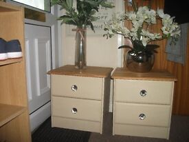Pair of Painted Pine Bedside Drawers