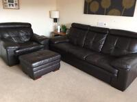 Brown leather 3 seater sofa, armchair and foot stool