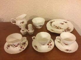 Duchess china tea set cups saucers milk jug sugar bowl salt and pepper pots