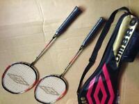 Umbro twin badminton racket set NEW