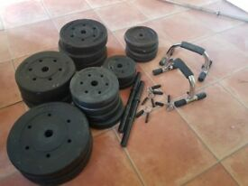 Gym weights including barbells and press up bars