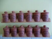 12 Terracotta Spice Jars with Racks