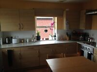 Wood effect Kitchen units and work top in Excellent Condition with sink tap Oven and hob