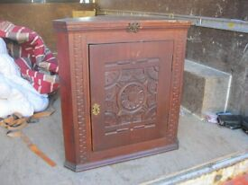 VINTAGE ORNATE STAINED PINE CORNER CABINET. VERSATILE LOCATION USAGE. VIEWING/DELIVERY AVAILABLE