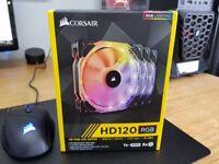 Corsair HD120 RGB 120mm LED 3 Fan Kit with Lighting Controller