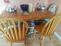 antique pine large dining table 4 chairs