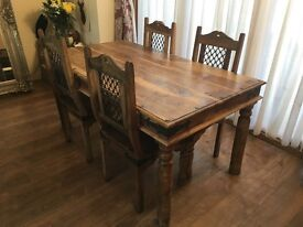 Mexican hard wood dining table and six chairs