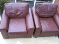 PAIR OF LEATHER ARMCHAIRS CLUB TUB CHAIRS - CONSERVATORY, DEN, LOUNGE