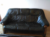 Green leather 3-seater sofa