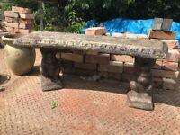 Weathered Curved Squirrel Garden Bench