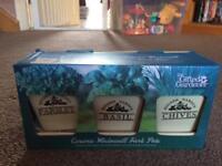 Brand new in box ceramic windowsill herb pots