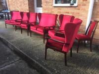 Vintage Regency style sofas and wing back armchairs burgundy red Job Lot. Can deliver.
