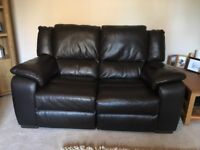 2 x 2 Seater Brown Leather Incliner Sofas