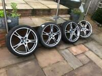 """19"""" 5x120 Bmw 361 staggered alloy wheels alloys with tyres diamond cut Rare 1 3 5 series"""