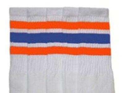 "Knee High Orange Socks (25"" KNEE HIGH WHITE tube socks with ORANGE/ROYAL BLUE stripes style 1 (25-73))"