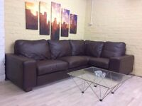 Fabulous Brown Leather Corner Sofa