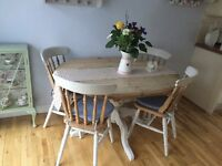 Dining table shabby chic pine kitchen table 4 chairs