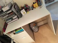 White desk with shelf and 2 drawers