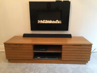 TV UNIT, solid oak finish wood, good condition
