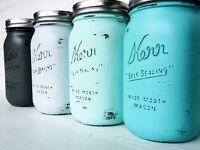 4 Vintage Retro Shabby Chic Ombre Painted Mason Jars / Home Decor / Decoration / Weddings