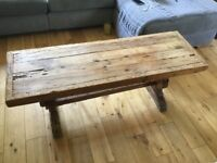 Coffee Table in Solid Oak. Mexican (Imported). Fantastic quality.