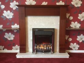 Rosewood and Marble Fire Surround (complete with coal effect electirc fire)