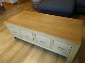 Oak coffee table with 8 drawers