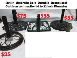 Stylish  Umbrella Base  Durable  Strong Steel, Cast Iron construction 16 to 22 inch Diameter