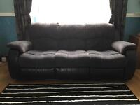 3 piece suite, recliner, fabric/leather grey & black