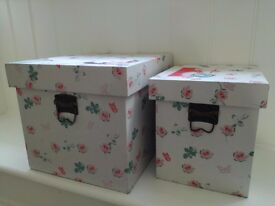 2 Decorative Storage Boxes (white with floral pattern)