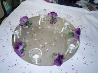 5 Round 50cms acrylic wedding table mirrors for sale.