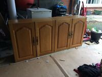Kitchen wall units with oak wooden doors- various widths- £50 total