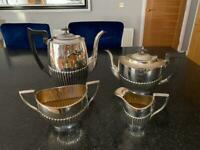E.P.N.S. Antique Silver Coffee pot, Tea pot, Sugar bowl & cream jug.