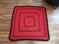 Handmade 'Granny Square' red crochet blanket (red and black)