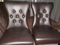 4 dining chairs Chocolate Brown Leather
