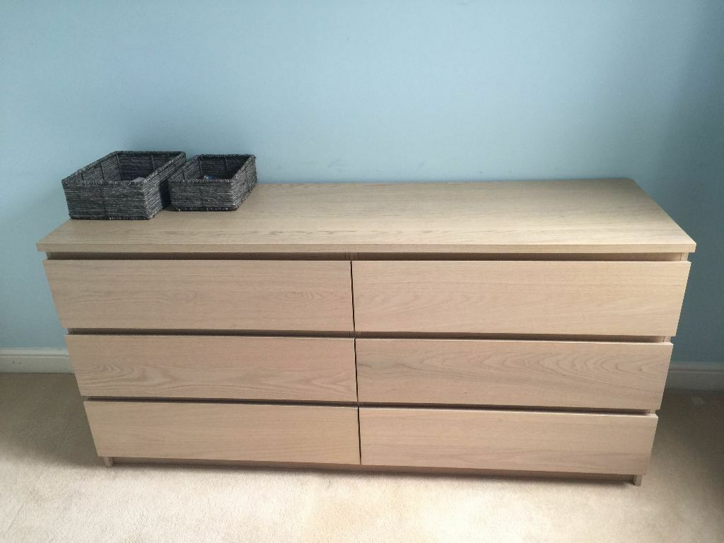 Chest Of 6 Drawers White Stained Oak Veneer Perfect