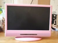 "17"" childrens TV (pink) with built in DVD player."