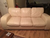 Large modern 3 seater sofa from dfs cream leather free to a good home