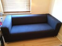 Black Klippan 2-seater Sofa (from IKEA) for living room. Very comfortable.