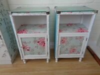 Llyod Loom style bedside cabinets x2 in duck-egg blue