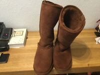 Used 4 times Ladies tan Emu Boots water resistant size 6 too big for me now