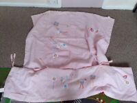 Pink Girls Cot Bumper & Duvet set