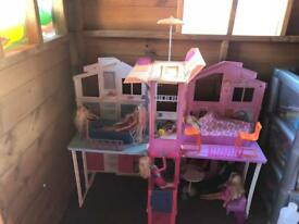 Barbie house with furniture and dolls