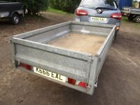 7-0 X 4-0 GALVANISED STEEL UNBRAKED FLATBED TRAILER.. WITH DROPSIDES...