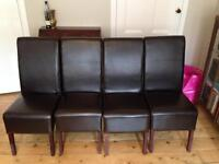 4 Dark Brown Genuine Leather Dining Chairs