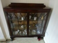 "rose wood & glass display cabinet height 49"" x width 48"" x depth 16"""